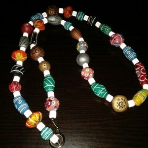 African trade long wooden necklace